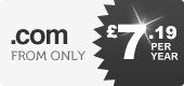 .com domains - from only £7.99 per year